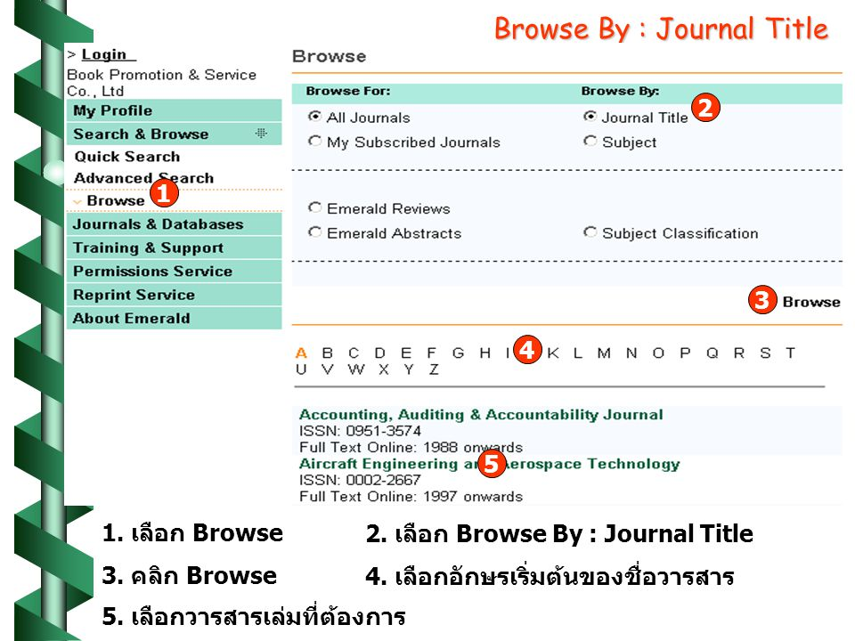 Browse By : Journal Title เลือก Browse 2.