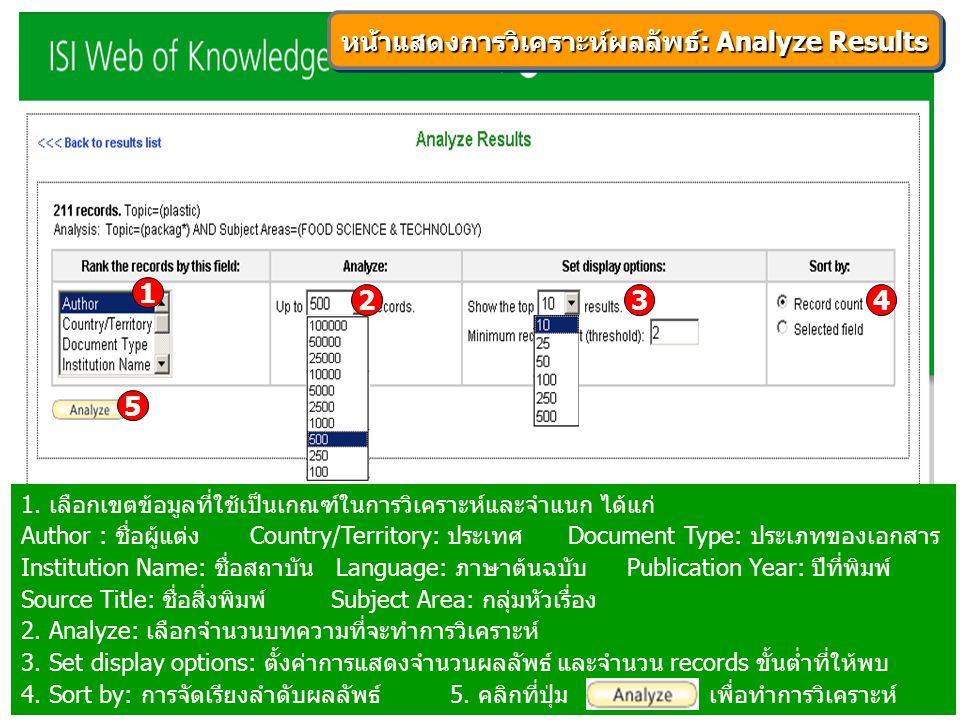 หน้าแสดงการวิเคราะห์ผลลัพธ์: Analyze Results 1. เลือกเขตข้อมูลที่ใช้เป็นเกณฑ์ในการวิเคราะห์และจำแนก ได้แก่ Author : ชื่อผู้แต่ง Country/Territory: ประ