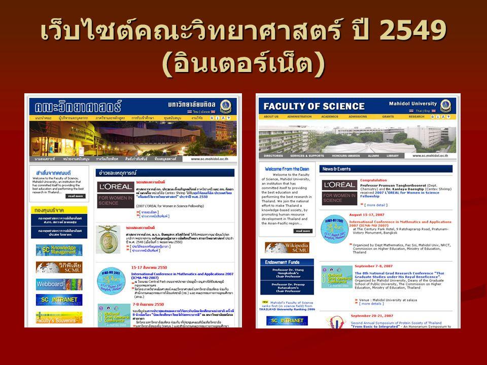 เว็บไซต์คณะวิทยาศาสตร์ ปี 2549 ( อินเตอร์เน็ต )
