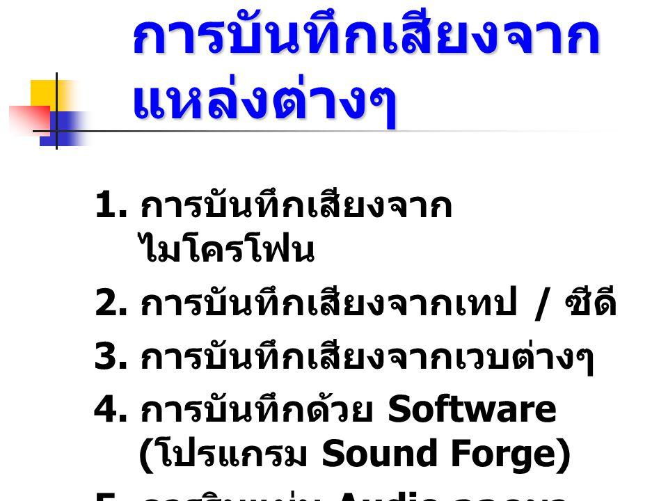 3. ตั้งค่าให้กับการ์ดเสียง เลือกที่ช่อง line in การบันทึกเสียงจาก ม้วนเทป