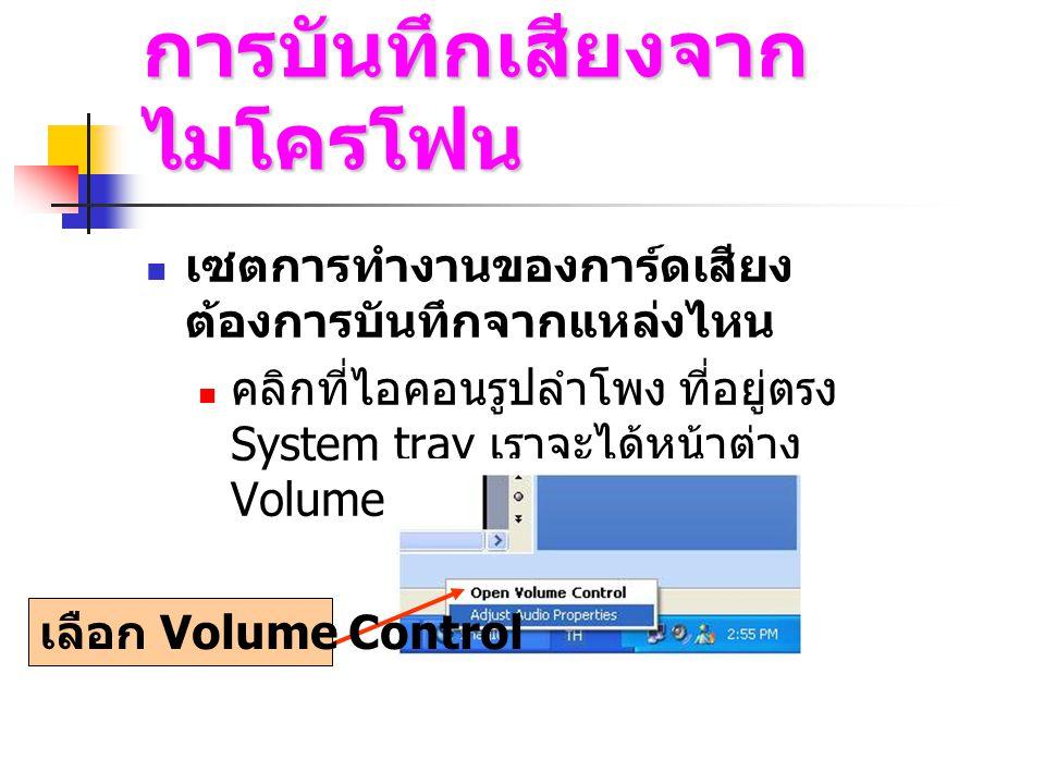 แผงคอนโทรลในการสั่งบันทึก เล่น หรือหยุดไฟล์ มิเตอร์แสดงระดับเสียง ปุ่มย่อ / ขยายไฟล์เสียง แสดงคุณสมบัติของไฟล์เสียง แถบดำ คือ เนื้อหาของไฟล์เสียง แสดงระดับความดังของเสียง มีหน่วยเป็นเดซิเบล