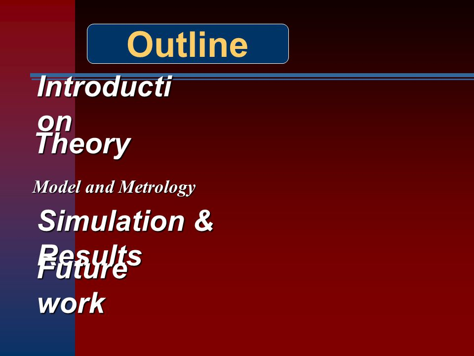 Outline Introducti on Theory Modeland Metrology Model and Metrology Simulation & Results Future work
