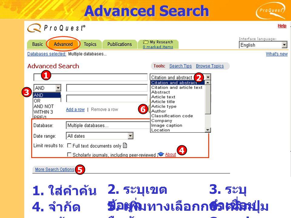 Advanced Search 2. ระบุเขต ข้อมูล 1. ใส่คำค้น 3. ระบุ คำเชื่อม 4. จำกัด เขตข้อมูล 5. เพิ่มทางเลือกการ สืบค้น 6. คลิกปุ่ม Search 1 3 4 5 6 2