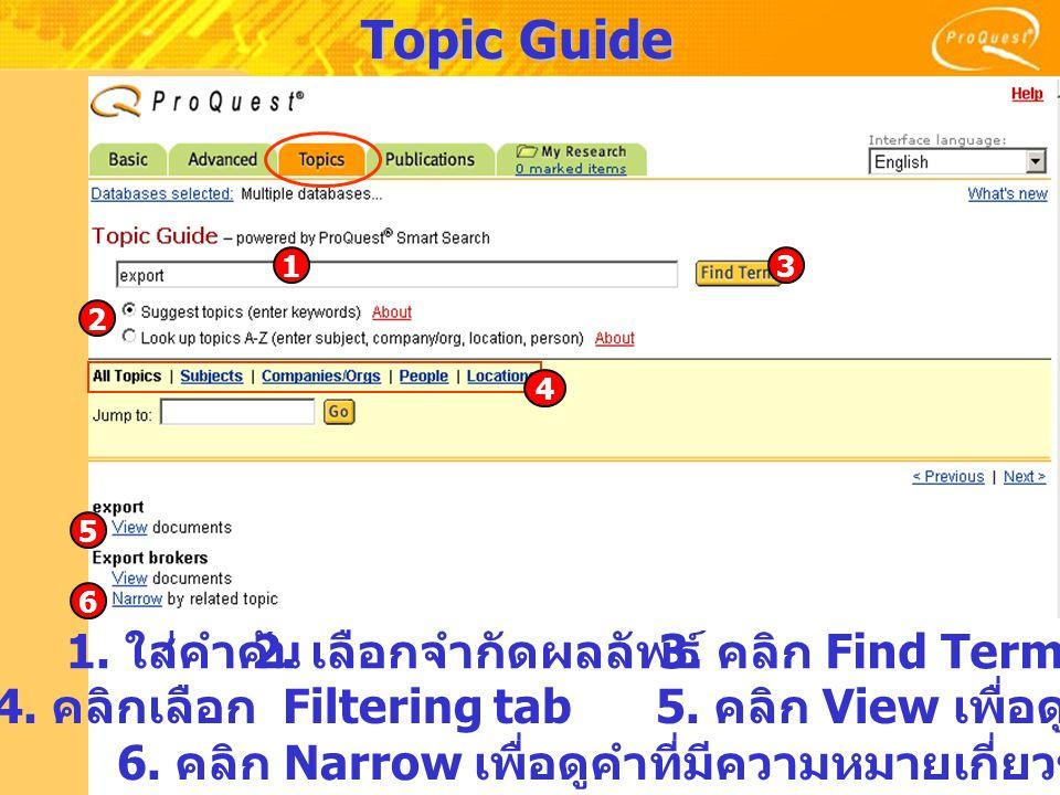 Topic Guide 1. ใส่คำค้น 2. เลือกจำกัดผลลัพธ์ 3. คลิก Find Term 4. คลิกเลือก Filtering tab5. คลิก View เพื่อดูบทความ 6. คลิก Narrow เพื่อดูคำที่มีความห