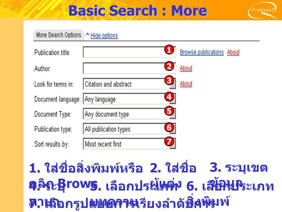 Basic Search : More Search Options 1. ใส่ชื่อสิ่งพิมพ์หรือ คลิก Brows 2. ใส่ชื่อ ผู้แต่ง 3. ระบุเขต ข้อมูล 5. เลือกประเภท บทความ 6. เลือกประเภท สิ่งพิ