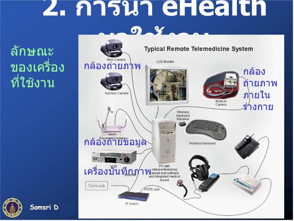 2. การนำ eHealth มาใช้งาน ลักษณะ ของเครื่อง ที่ใช้งาน กล้องถ่ายภาพ กล้อง ถ่ายภาพ ภายใน ร่างกาย กล้องถ่ายข้อมูล เครื่องบันทึกภาพ