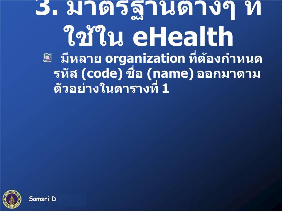 3. มาตรฐานต่างๆ ที่ ใช้ใน eHealth มีหลาย organization ที่ต้องกำหนด รหัส (code) ชื่อ (name) ออกมาตาม ตัวอย่างในตารางที่ 1