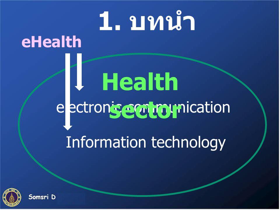 1. บทนำ eHealth electronic communication Information technology Health sector