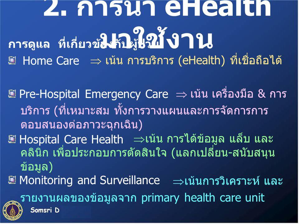2. การนำ eHealth มาใช้งาน การดูแล ที่เกี่ยวข้องกับผู้ป่วย Home Care Pre-Hospital Emergency Care Hospital Care Health Monitoring and Surveillance  เน้