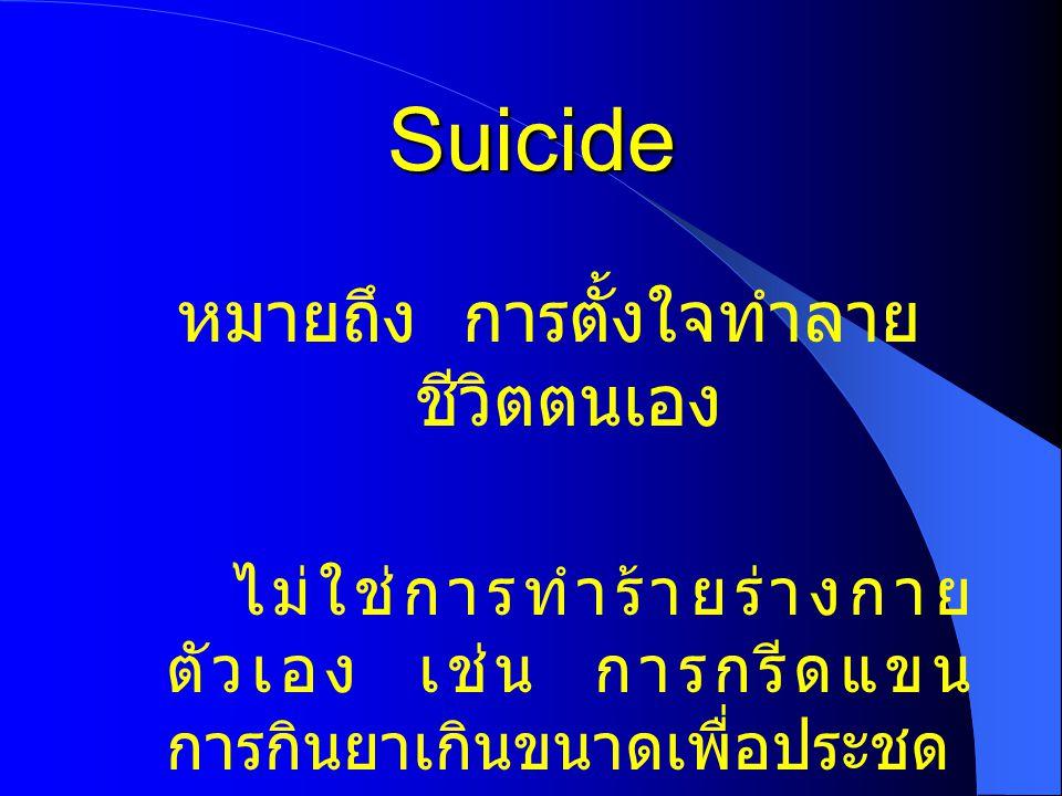 Suicide หมายถึง การตั้งใจทำลาย ชีวิตตนเอง ไม่ใช่การทำร้ายร่างกาย ตัวเอง เช่น การกรีดแขน การกินยาเกินขนาดเพื่อประชด