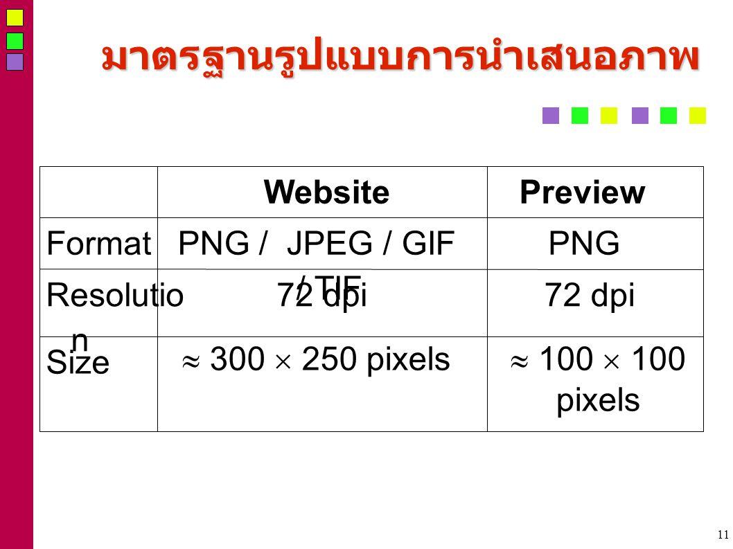 11 มาตรฐานรูปแบบการนำเสนอภาพ  100  100 pixels  300  250 pixels Size 72 dpi Resolutio n PNGPNG / JPEG / GIF / TIF Format PreviewWebsite