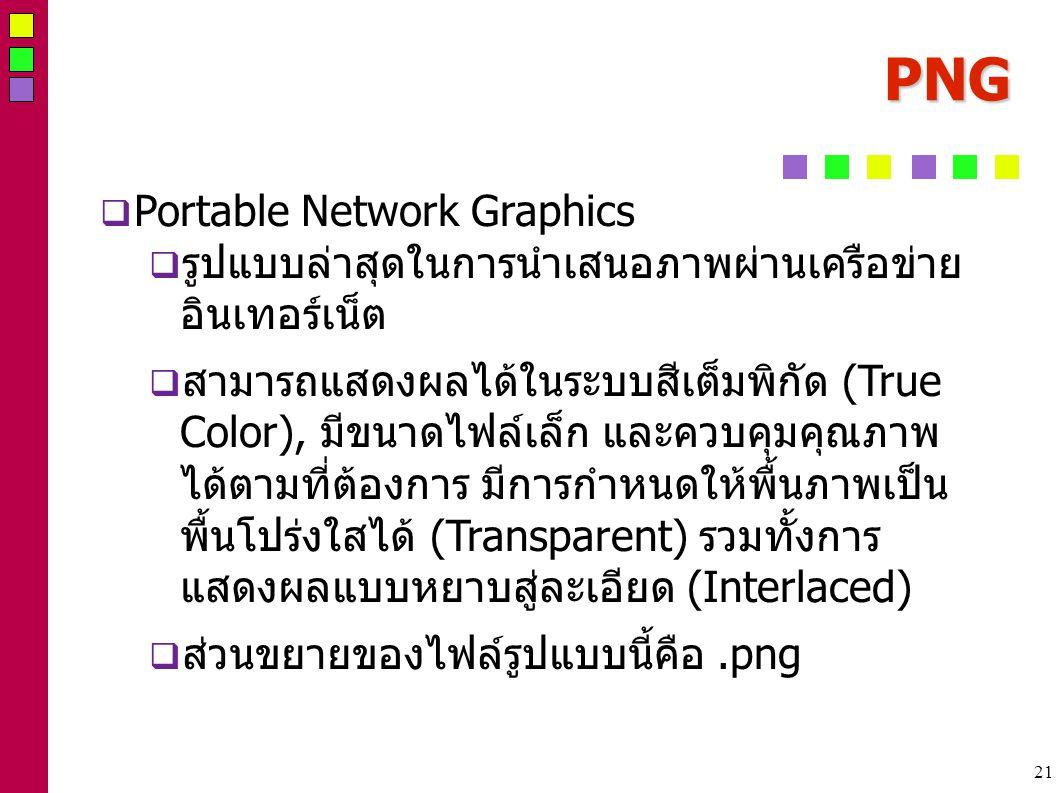 21 PNG  Portable Network Graphics  รูปแบบล่าสุดในการนำเสนอภาพผ่านเครือข่าย อินเทอร์เน็ต  สามารถแสดงผลได้ในระบบสีเต็มพิกัด (True Color), มีขนาดไฟล์เล็ก และควบคุมคุณภาพ ได้ตามที่ต้องการ มีการกำหนดให้พื้นภาพเป็น พื้นโปร่งใสได้ (Transparent) รวมทั้งการ แสดงผลแบบหยาบสู่ละเอียด (Interlaced)  ส่วนขยายของไฟล์รูปแบบนี้คือ.png