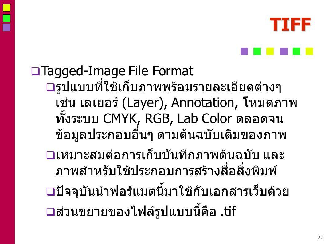 22 TIFF  Tagged-Image File Format  รูปแบบที่ใช้เก็บภาพพร้อมรายละเอียดต่างๆ เช่น เลเยอร์ (Layer), Annotation, โหมดภาพ ทั้งระบบ CMYK, RGB, Lab Color ตลอดจน ข้อมูลประกอบอื่นๆ ตามต้นฉบับเดิมของภาพ  เหมาะสมต่อการเก็บบันทึกภาพต้นฉบับ และ ภาพสำหรับใช้ประกอบการสร้างสื่อสิ่งพิมพ์  ปัจจุบันนำฟอร์แมตนี้มาใช้กับเอกสารเว็บด้วย  ส่วนขยายของไฟล์รูปแบบนี้คือ.tif