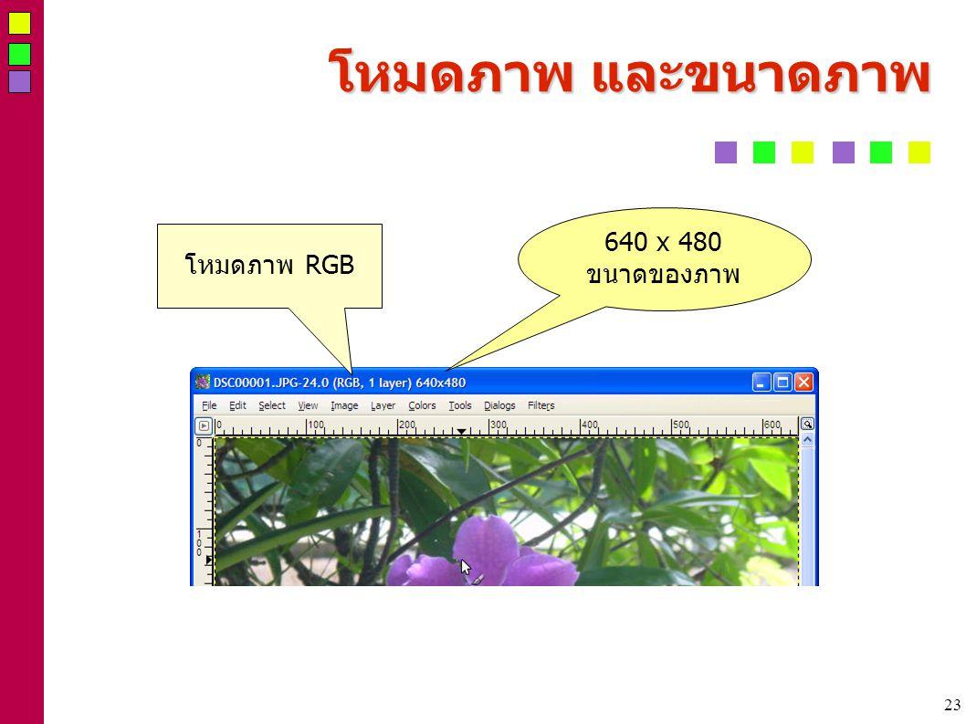 23 โหมดภาพ และขนาดภาพ 640 x 480 ขนาดของภาพ โหมดภาพ RGB