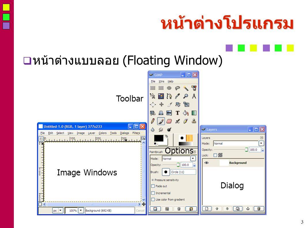3 หน้าต่างโปรแกรม  หน้าต่างแบบลอย (Floating Window) Image Windows Toolbar Options Dialog
