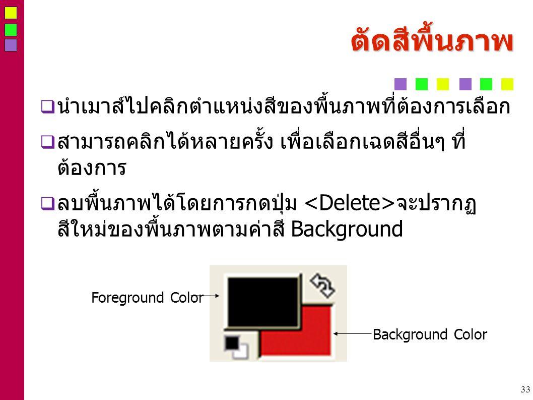 33 ตัึดสีพื้นภาพ  นำเมาส์ไปคลิกตำแหน่งสีของพื้นภาพที่ต้องการเลือก  สามารถคลิกได้หลายครั้ง เพื่อเลือกเฉดสีอื่นๆ ที่ ต้องการ  ลบพื้นภาพได้โดยการกดปุ่ม จะปรากฏ สีใหม่ของพื้นภาพตามค่าสี Background Foreground Color Background Color