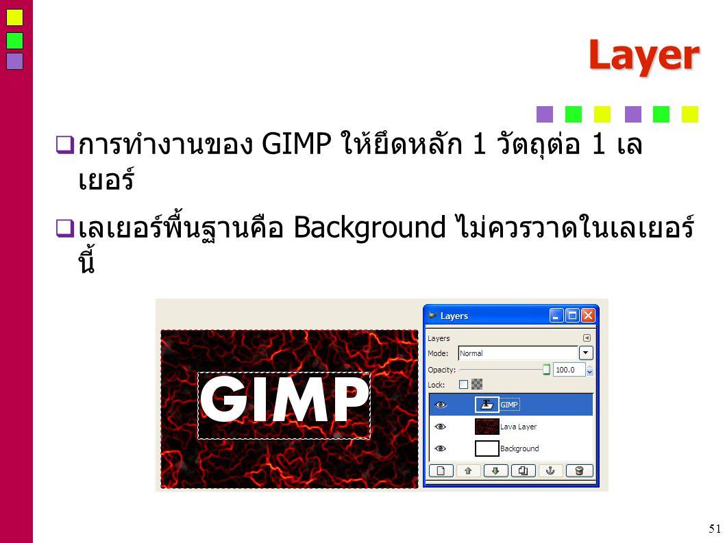 51 Layer  การทำงานของ GIMP ให้ยึดหลัก 1 วัตถุต่อ 1 เล เยอร์  เลเยอร์พื้นฐานคือ Background ไม่ควรวาดในเลเยอร์ นี้