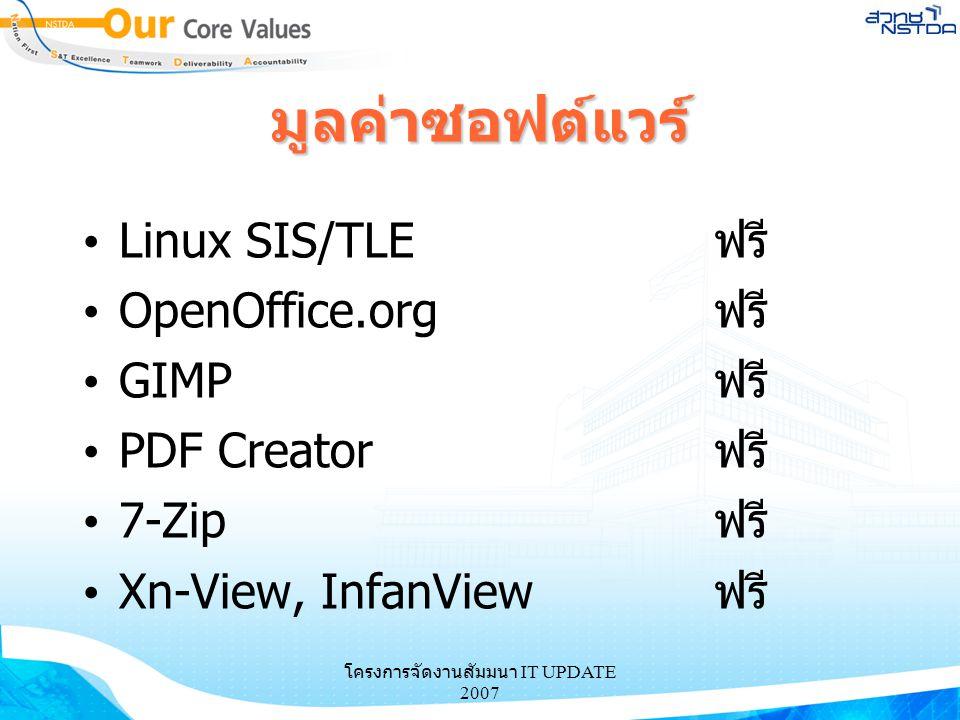 โครงการจัดงานสัมมนา IT UPDATE 2007 มูลค่าซอฟต์แวร์ Linux SIS/TLEฟรี OpenOffice.orgฟรี GIMPฟรี PDF Creatorฟรี 7-Zipฟรี Xn-View, InfanViewฟรี