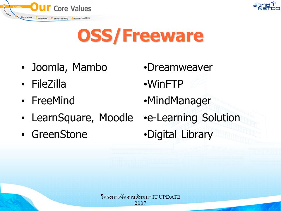 โครงการจัดงานสัมมนา IT UPDATE 2007 OSS/Freeware Joomla, Mambo FileZilla FreeMind LearnSquare, Moodle GreenStone Dreamweaver WinFTP MindManager e-Learn