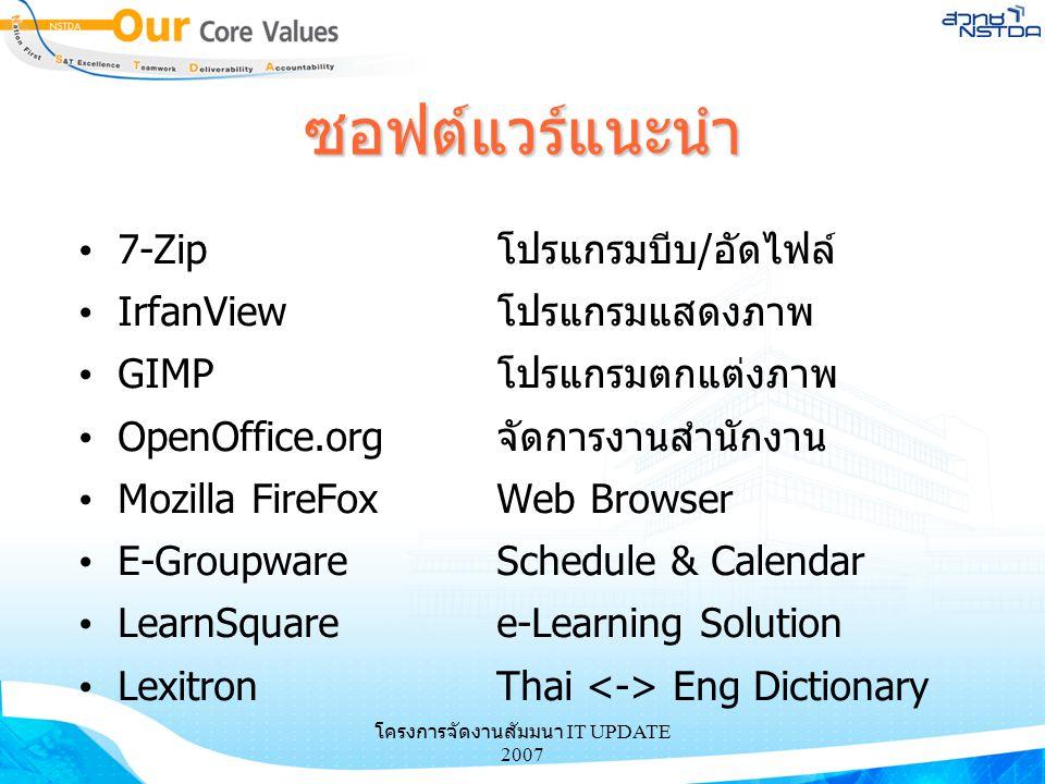 ซอฟต์แวร์แนะนำ 7-Zipโปรแกรมบีบ/อัดไฟล์ IrfanViewโปรแกรมแสดงภาพ GIMPโปรแกรมตกแต่งภาพ OpenOffice.orgจัดการงานสำนักงาน Mozilla FireFoxWeb Browser E-Group