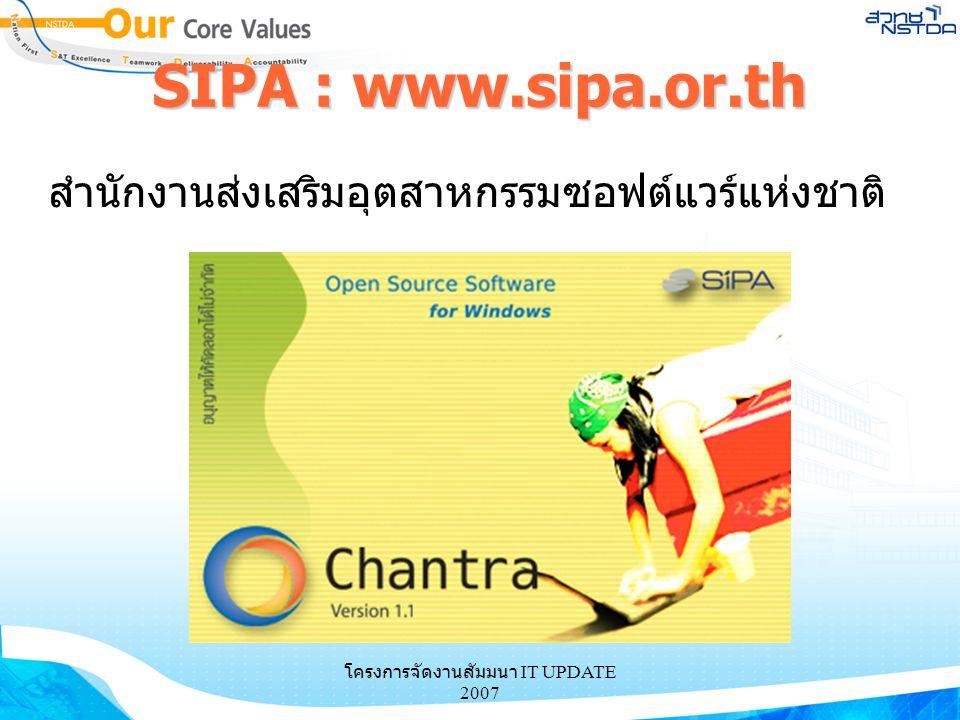 โครงการจัดงานสัมมนา IT UPDATE 2007 SIPA : www.sipa.or.th สำนักงานส่งเสริมอุตสาหกรรมซอฟต์แวร์แห่งชาติ