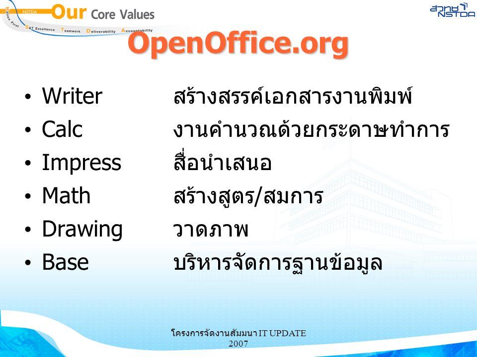 โครงการจัดงานสัมมนา IT UPDATE 2007 OpenOffice.org Writerสร้างสรรค์เอกสารงานพิมพ์ Calcงานคำนวณด้วยกระดาษทำการ Impressสื่อนำเสนอ Mathสร้างสูตร/สมการ Dra
