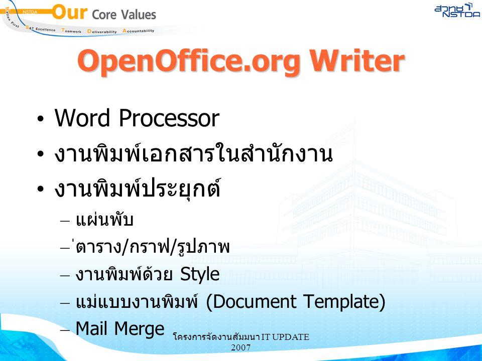 โครงการจัดงานสัมมนา IT UPDATE 2007 OpenOffice.org Writer Word Processor งานพิมพ์เอกสารในสำนักงาน งานพิมพ์ประยุกต์ – แผ่นพับ – ่ตาราง/กราฟ/รูปภาพ – งาน
