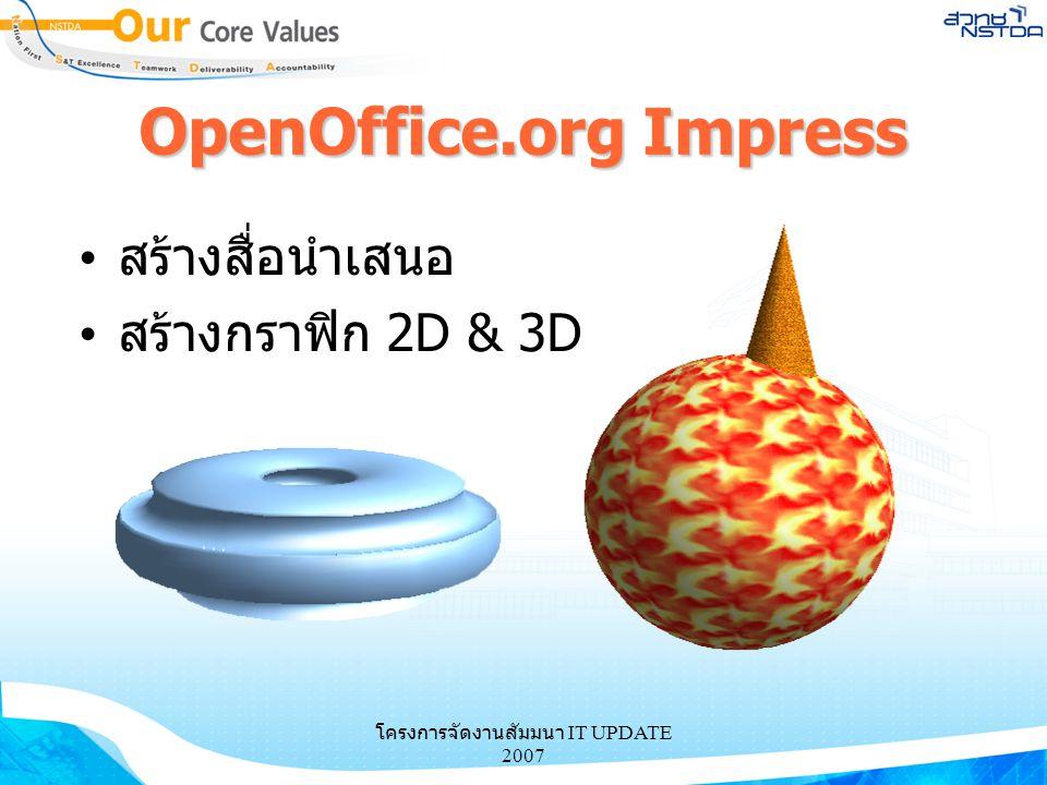 OpenOffice.org Impress สร้างสื่อนำเสนอ สร้างกราฟิก 2D & 3D