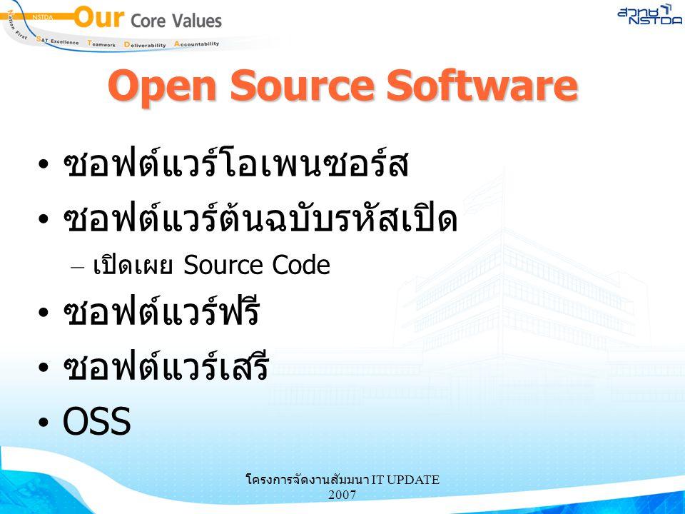 โครงการจัดงานสัมมนา IT UPDATE 2007 Open Source Software ซอฟต์แวร์โอเพนซอร์ส ซอฟต์แวร์ต้นฉบับรหัสเปิด – เปิดเผย Source Code ซอฟต์แวร์ฟรี ซอฟต์แวร์เสรี