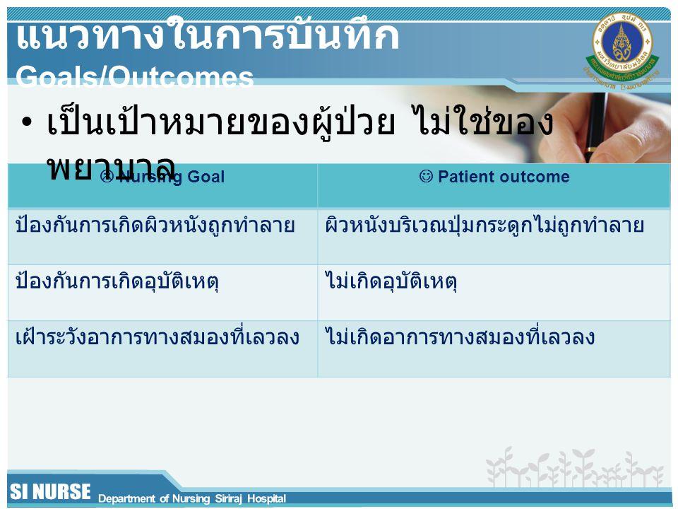 Nursing Goal Patient outcome ป้องกันการเกิดผิวหนังถูกทำลายผิวหนังบริเวณปุ่มกระดูกไม่ถูกทำลาย ป้องกันการเกิดอุบัติเหตุไม่เกิดอุบัติเหตุ เฝ้าระวังอากา