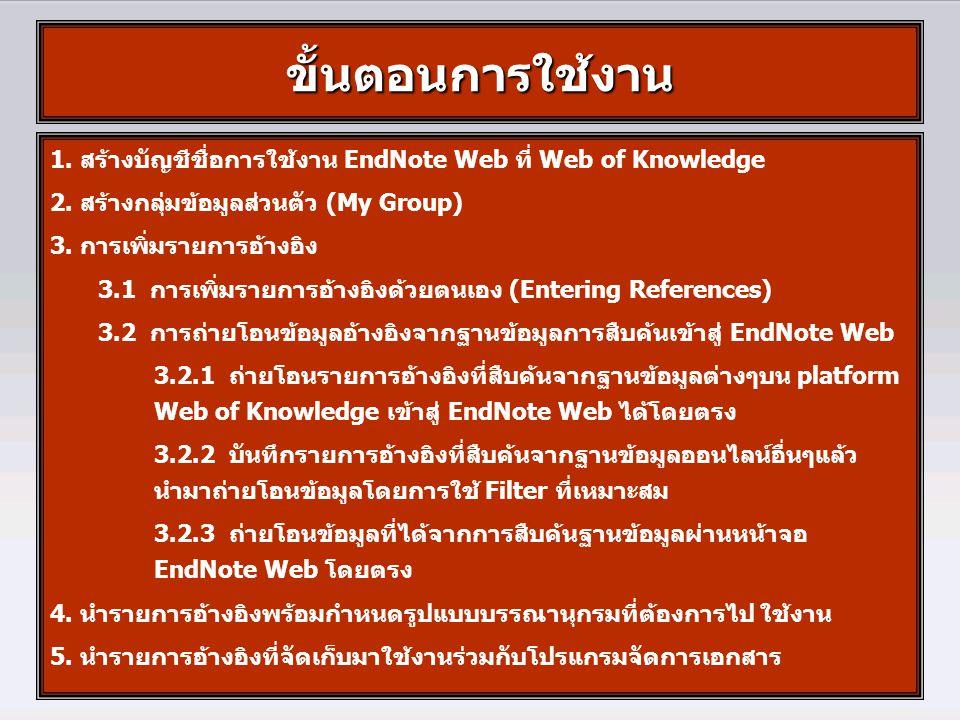 1. สร้างบัญชีชื่อการใช้งาน EndNote Web ที่ Web of Knowledge 2. สร้างกลุ่มข้อมูลส่วนตัว (My Group) 3. การเพิ่มรายการอ้างอิง 3.1 การเพิ่มรายการอ้างอิงด้