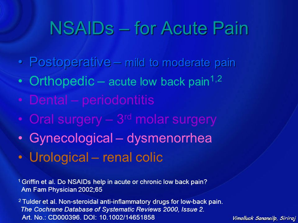 NSAIDs – for Acute Pain Postoperative – mild to moderate painPostoperative – mild to moderate pain Orthopedic – acute low back pain 1,2 Dental – perio