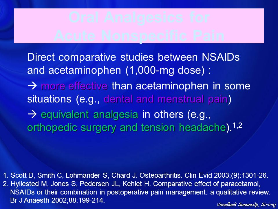 Oral Analgesics for Acute Nonspecific Pain Direct comparative studies between NSAIDs and acetaminophen (1,000-mg dose) : more effective dental and men