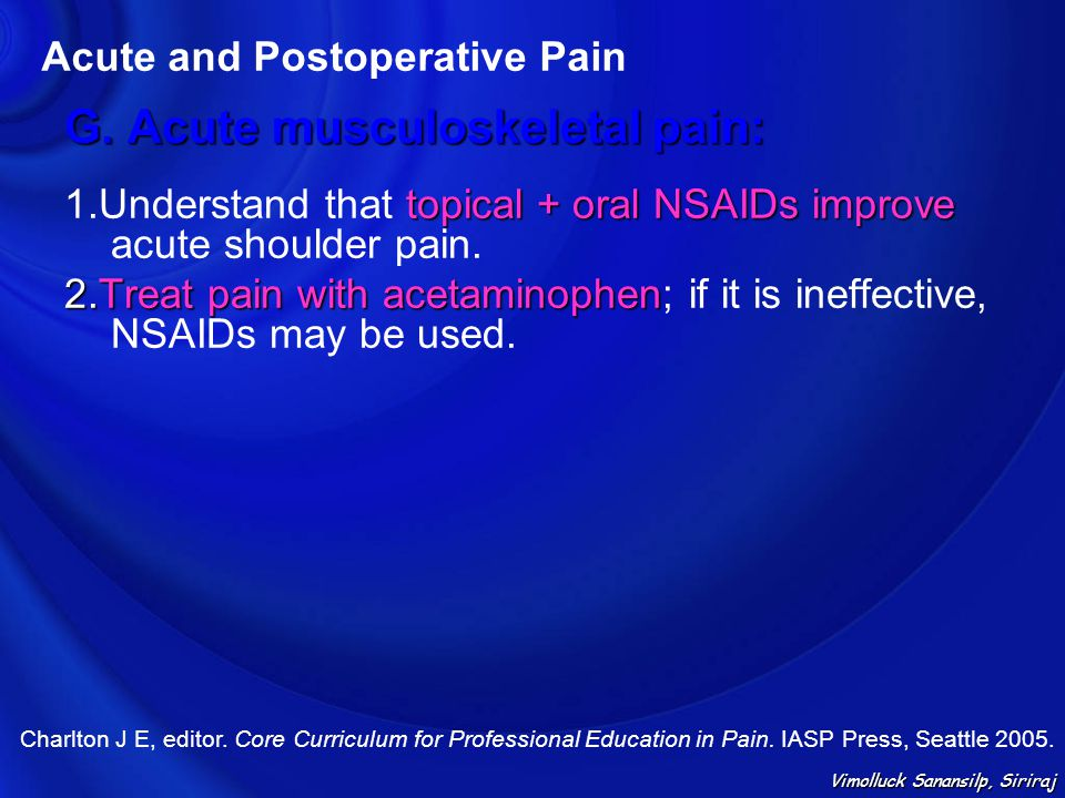 G. Acute musculoskeletal pain: topical + oral NSAIDs improve 1.Understand that topical + oral NSAIDs improve acute shoulder pain. 2.Treat pain with ac