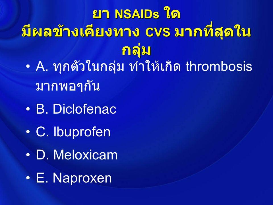 Summary : Meta-analysis & Systemic Review Rofecoxib < 25 mg/dRR 1.33* -1.73*Rofecoxib < 25 mg/dRR 1.33* -1.73* > 25 mg/d 2.19* > 25 mg/d 2.19* Celecoxib > 400 mg/d1.56* -2.70*Celecoxib > 400 mg/d1.56* -2.70* < 200 mg/d 1.0 < 200 mg/d 1.0 Naproxen 0.92-0.97Naproxen 0.92-0.97 Diclofenac1.40* -1.63*Diclofenac1.40* -1.63* Piroxicam 1.06 ( 0.70-1.59 )Piroxicam 1.06 ( 0.70-1.59 ) Ibuprofen1.07-1.51*Ibuprofen1.07-1.51*