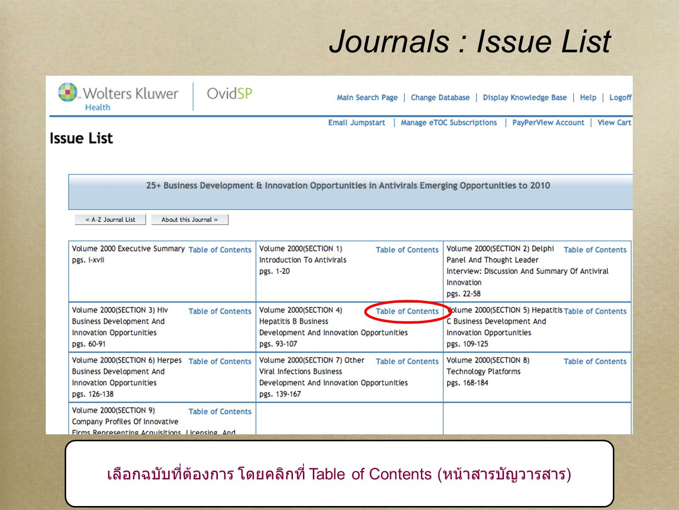 9 Journals : Table of Contents หน้าสารบัญวารสาร
