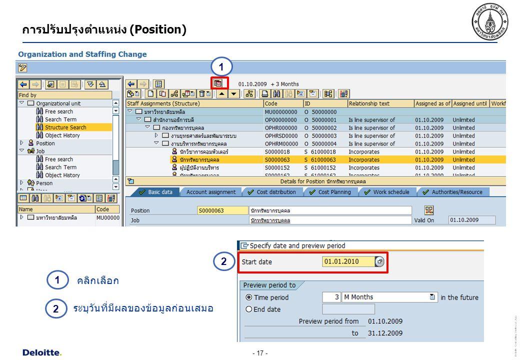 - 17 - Deloitte Consulting Southeast Asia การปรับปรุงตำแหน่ง (Position) ระบุวันที่มีผลของข้อมูลก่อนเสมอ 1 1 คลิกเลือก 2 2