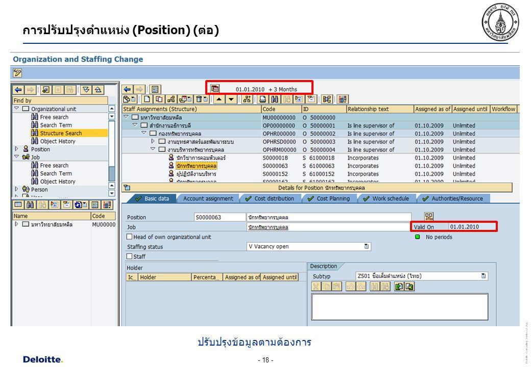 - 18 - Deloitte Consulting Southeast Asia การปรับปรุงตำแหน่ง (Position) (ต่อ) ปรับปรุงข้อมูลตามต้องการ
