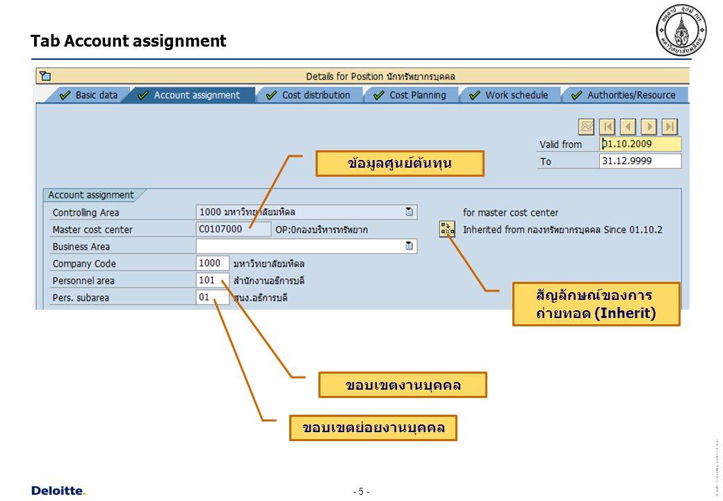 - 6 - Deloitte Consulting Southeast Asia Tab Cost distribution ข้อมูลศูนย์ต้นทุน เขตการควบคุม (Controlling Area) 1000 มหาวิทยาลัยมหิดล เปอร์เซ็นต์ ต้องเท่ากับ 100 เสมอ ชื่อศูนย์ต้นทุน ข้อมูลผลผลิตของตำแหน่ง