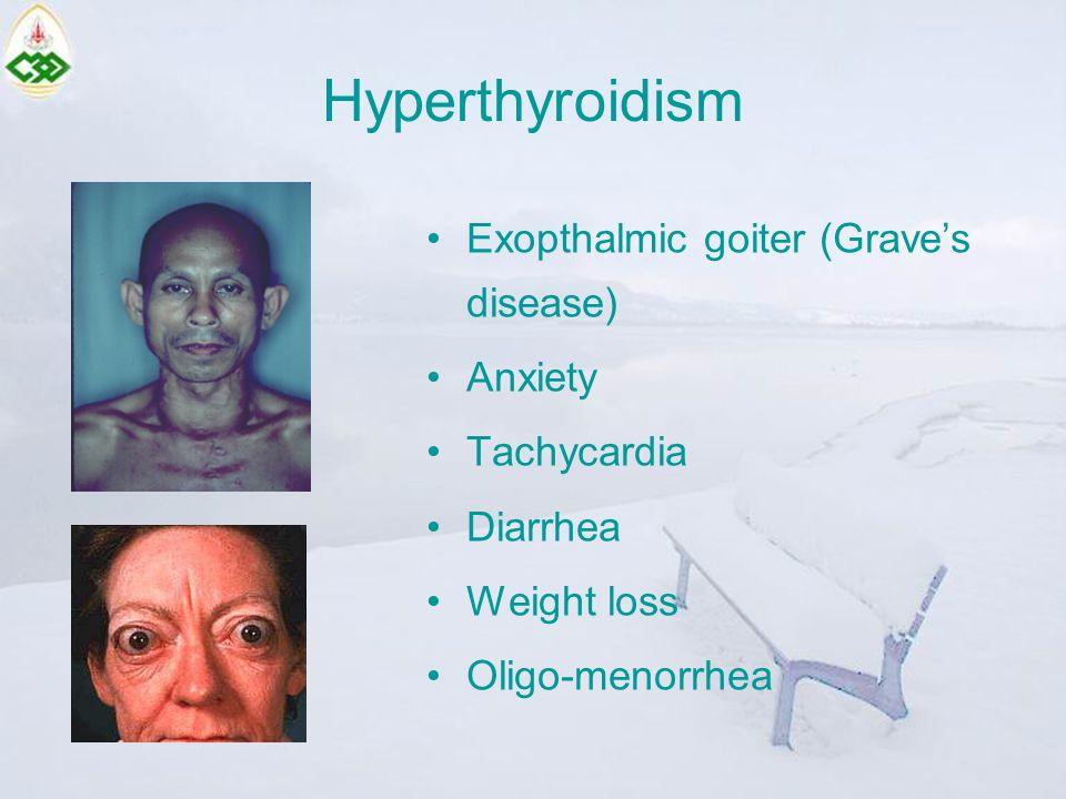 Hyperthyroidism Exopthalmic goiter (Grave's disease) Anxiety Tachycardia Diarrhea Weight loss Oligo-menorrhea