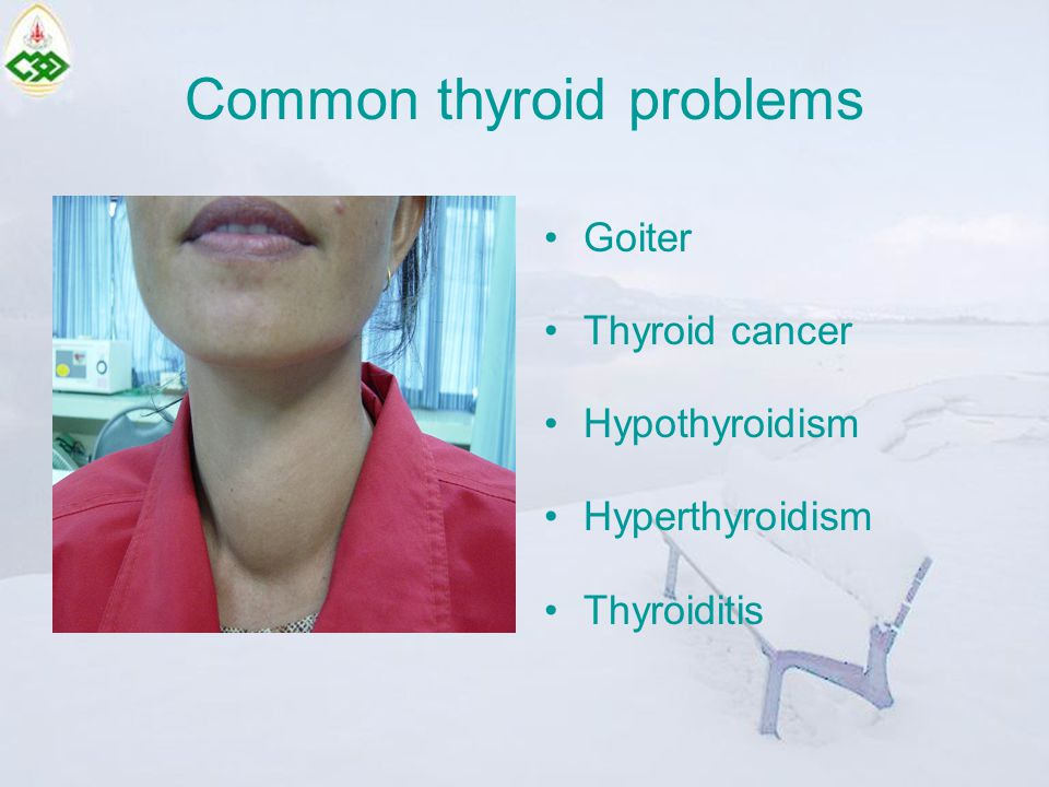 Common thyroid problems Goiter Thyroid cancer Hypothyroidism Hyperthyroidism Thyroiditis