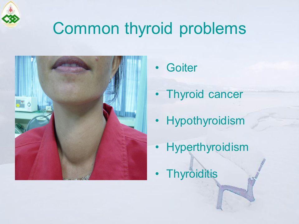 Hyperthyroidism Decreased energy Slow heart rate Dry skin Constipation Cold intolerance Hyper menorrhea*