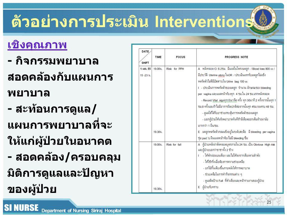 ตัวอย่างการประเมิน Interventions เชิงคุณภาพ - กิจกรรมพยาบาล สอดคล้องกับแผนการ พยาบาล - สะท้อนการดูแล/ แผนการพยาบาลที่จะ ให้แก่ผู้ป่วยในอนาคต - สอดคล้อ
