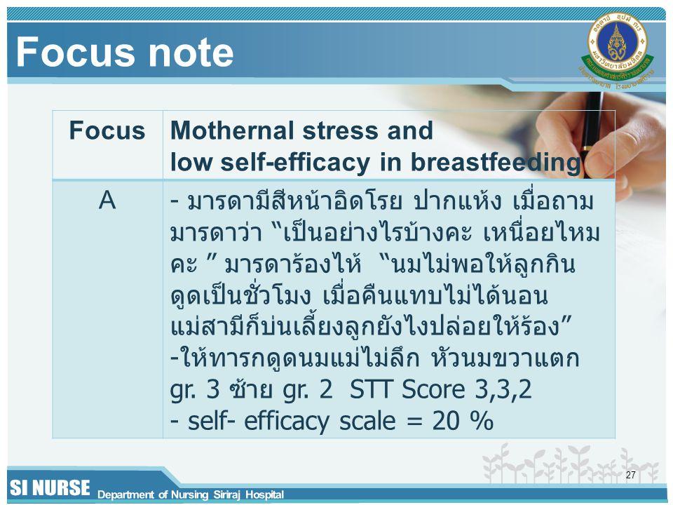"Focus note FocusMothernal stress and low self-efficacy in breastfeeding A - มารดามีสีหน้าอิดโรย ปากแห้ง เมื่อถาม มารดาว่า ""เป็นอย่างไรบ้างคะ เหนื่อยไห"