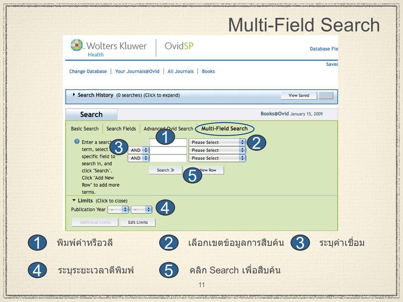 11 Multi-Field Search 2 31 4 5 2 3 1 4 5 ระบุคำเชื่อม คลิก Search เพื่อสืบค้นระบุระยะเวลาตีพิมพ์ เลือกเขตข้อมูลการสืบค้นพิมพ์คำหรือวลี