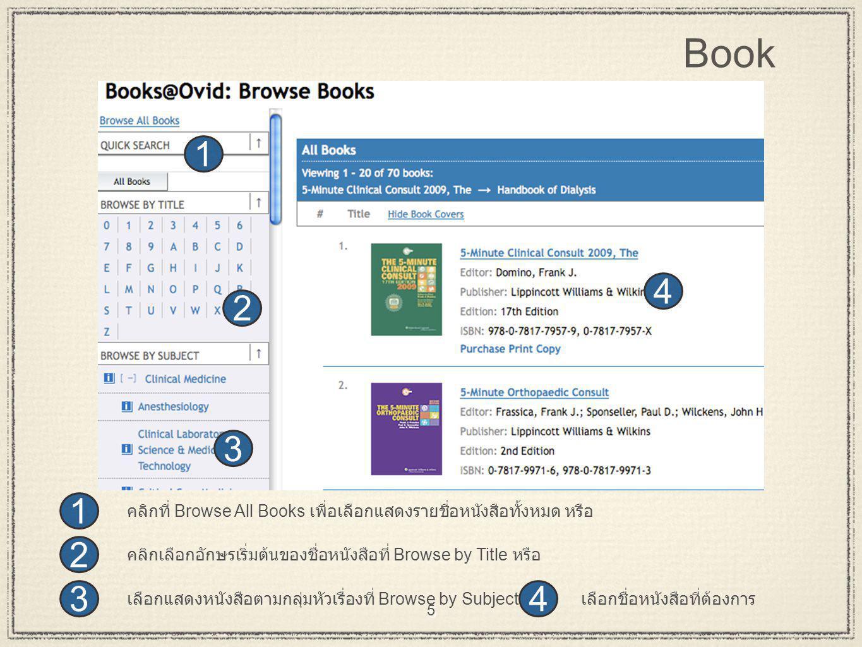 5 43 2 1 4 3 2 1 เลือกชื่อหนังสือที่ต้องการเลือกแสดงหนังสือตามกลุ่มหัวเรื่องที่ Browse by Subject คลิกเลือกอักษรเริ่มต้นของชื่อหนังสือที่ Browse by Ti