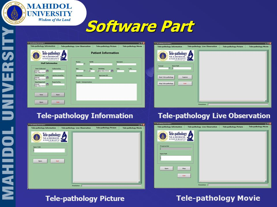 Software Part Tele-pathology Information Tele-pathology Picture Tele-pathology Movie Tele-pathology Live Observation