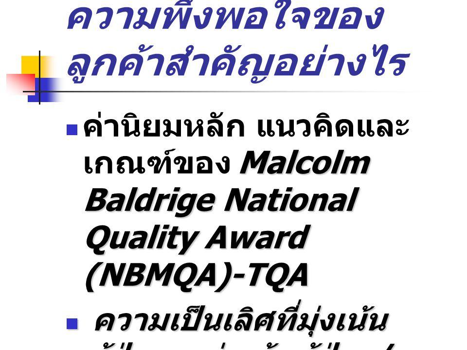ความพึงพอใจของ ลูกค้าสำคัญอย่างไร Malcolm Baldrige National Quality Award (NBMQA)-TQA ค่านิยมหลัก แนวคิดและ เกณฑ์ของ Malcolm Baldrige National Quality Award (NBMQA)-TQA ความเป็นเลิศที่มุ่งเน้น ผู้ป่วย – มุ่งเน้นผู้ป่วย / ผู้รับบริการ ความเป็นเลิศที่มุ่งเน้น ผู้ป่วย – มุ่งเน้นผู้ป่วย / ผู้รับบริการ