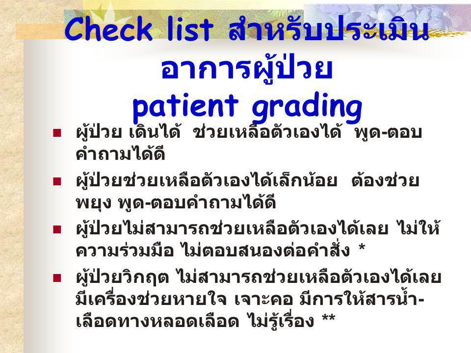 Check list สำหรับประเมิน อาการผู้ป่วย patient grading ผู้ป่วย เดินได้ ช่วยเหลือตัวเองได้ พูด - ตอบ คำถามได้ดี ผู้ป่วยช่วยเหลือตัวเองได้เล็กน้อย ต้องช่
