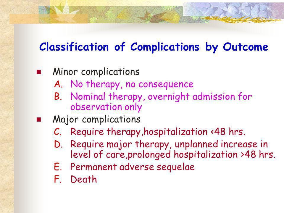 Classification of Complications by Outcome Minor complications A.No therapy, no consequence B.Nominal therapy, overnight admission for observation onl